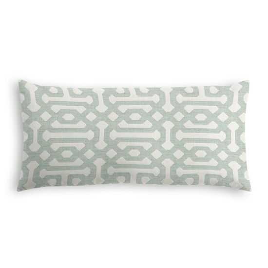 LUMBAR PILLOW - Sunbrella® Fretwork - Mist // Down Insert - Loom Decor