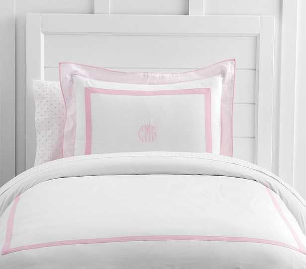 Decorator Solid Border Duvet Cover, Twin, Light Pink - Pottery Barn Kids