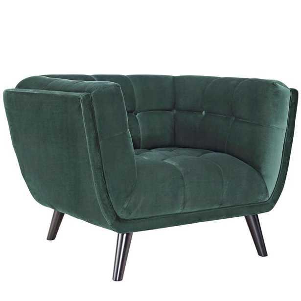 BESTOW VELVET ARMCHAIR IN GREEN - Modway Furniture