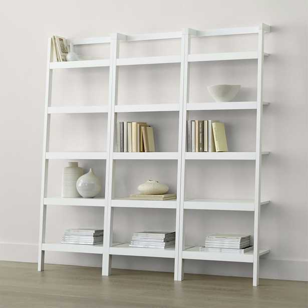 """Sawyer White Leaning 24.5"""" Bookcases Set of Three - Crate and Barrel"""