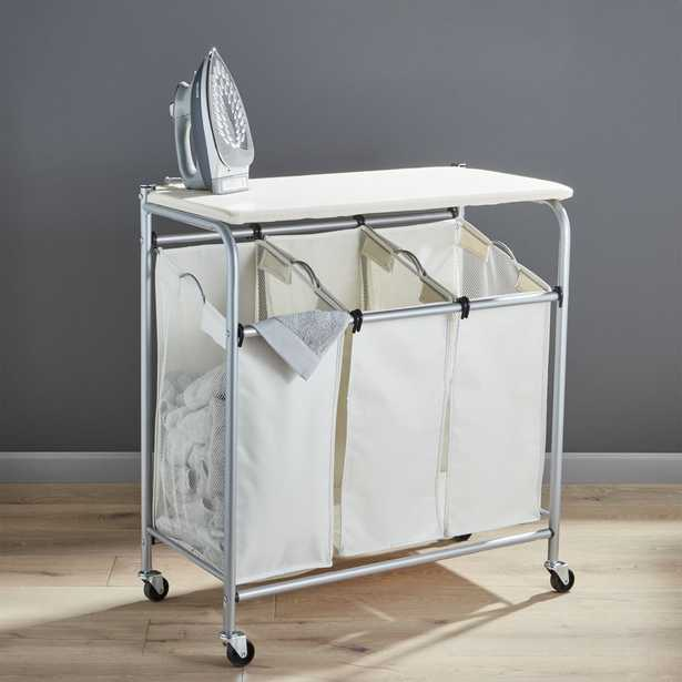Triple Laundry Sorter with Ironing Board - Crate and Barrel