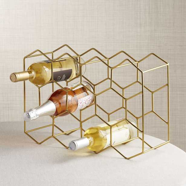 11-Bottle Gold Wine Rack - Crate and Barrel