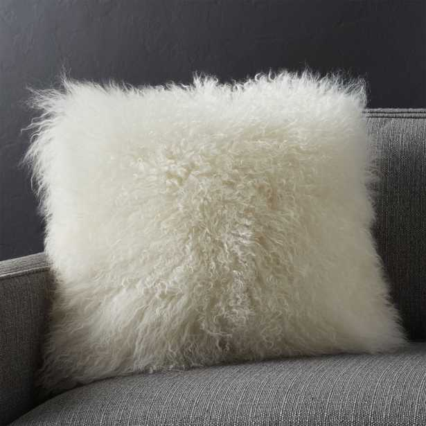 """Pelliccia Ivory 16"""" Pillow with Down-Alternative Insert - Crate and Barrel"""