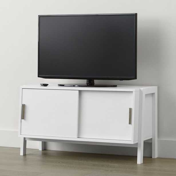 Sawyer Low White Media Stand - Crate and Barrel