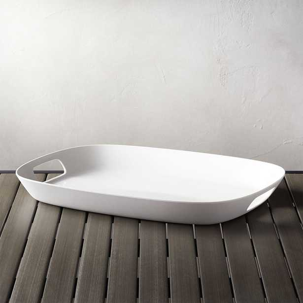 """Lunea Melamine White 19""""x14"""" Tray with Handles - Crate and Barrel"""