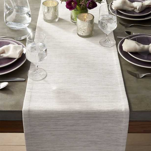 """Grasscloth 90"""" White Table Runner - Crate and Barrel"""
