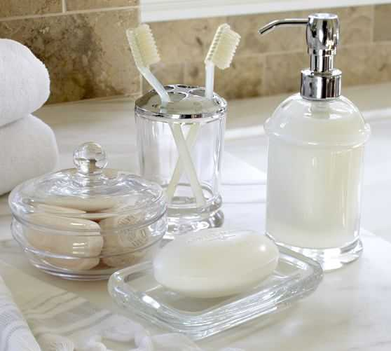 PB Classic Glass Bath Accessories - Rectangular Soap Dish - Pottery Barn