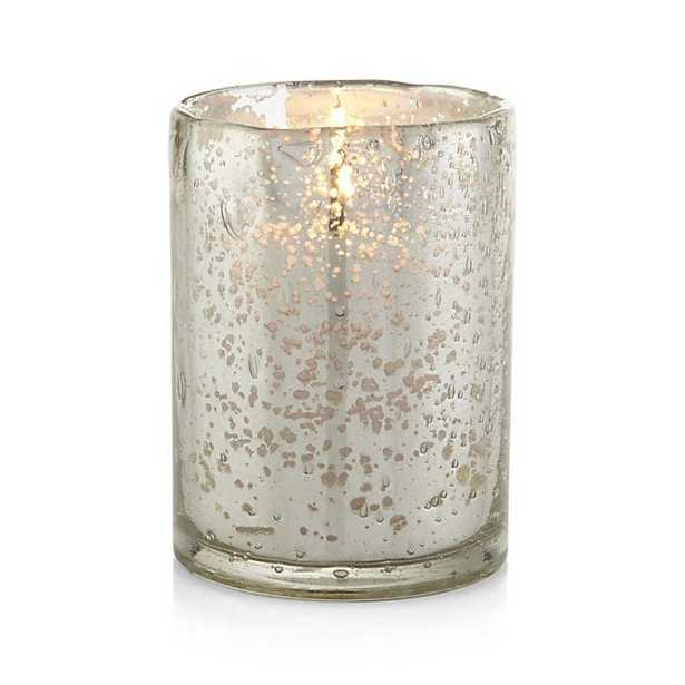 Bubbled Silver Glass Hurricane Candle Holder - Crate and Barrel