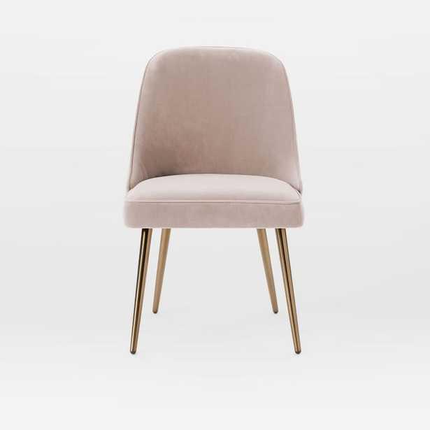 Mid-Century Upholstered Dining Chair, Worn Velvet, Light Pink - West Elm