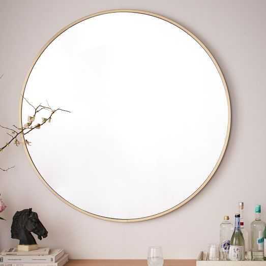 Metal Framed Oversized Round Mirror, Antiqued Brass - West Elm