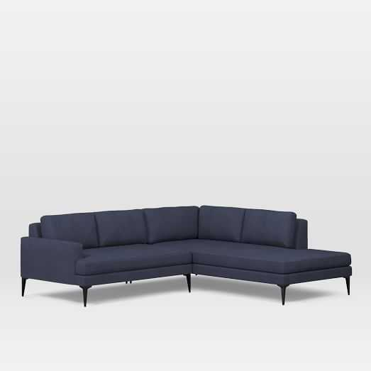 Andes Right Terminal Chaise 2-pc Sectional - Large - Pebble Weave, Aegean Blue - Dark Pewter leg - West Elm