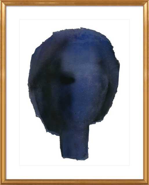 "Blue Head - 28"" x 36"" - Gold Leaf Wood Frame with Matte - Artfully Walls"