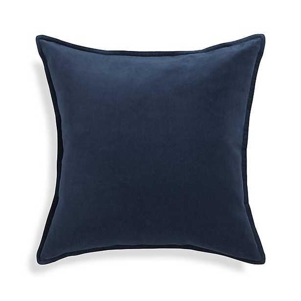 """Brenner Indigo Blue 20"""" Velvet Pillow with Down-Alternative Insert - Crate and Barrel"""