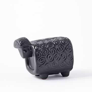 Ceramic Sheep Piggy Bank, Black - West Elm