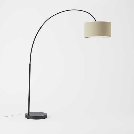 Overarching Linen Shade Floor Lamp - Antique Bronze - West Elm