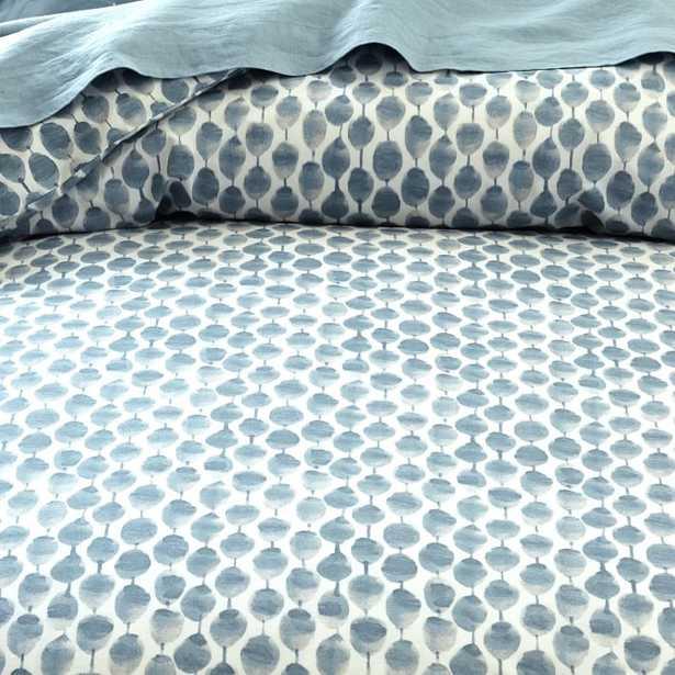 Organic Stamped Dot King Duvet Cover, Moonstone - West Elm