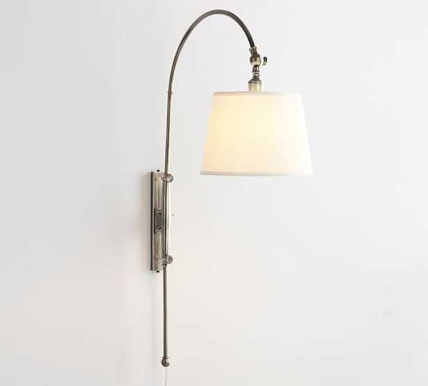 CFL Adjustable Arc Plug-in Sconce with White Shade, Antique Nickel - Pottery Barn