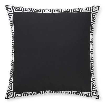 "Outdoor Greek Key Embroidered Pillow, 22"" X 22"", Black - Williams Sonoma"