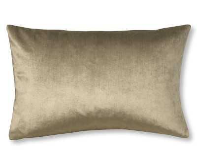 "Velvet Lumbar Pillow Cover, 14"" X 22"", Putty - Williams Sonoma"