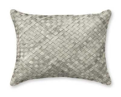 """Woven Leather Hide Pillow Cover, 12"""" X 16"""", Gray - Williams Sonoma"""