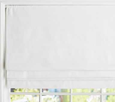 "Linen Cordless Blackout Roman Shade, 44 x 64"" Panel, White - Pottery Barn Kids"