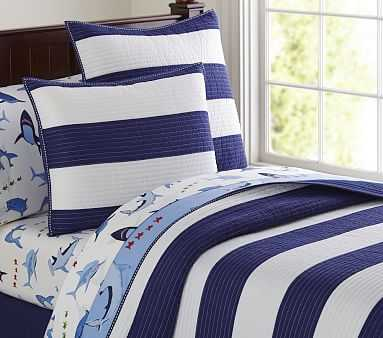 Rugby Stripe Quilt, Twin, Navy/White - Pottery Barn Kids