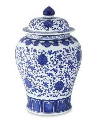 """Blue & White Ginger Jar Lidded Urn, 16"""" - Williams Sonoma"""
