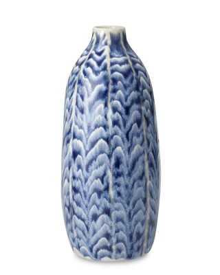 Ceramic Herringbone Vase, Tall, Blue - Williams Sonoma