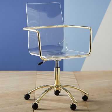 Gold Paige Acrylic Swivel Chair - Pottery Barn Teen