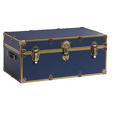 Dorm Trunk, Navy with Rubbed Brass, Standard - Pottery Barn Teen