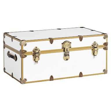 Dorm Trunk, White with Rubbed Brass, Standard - Pottery Barn Teen