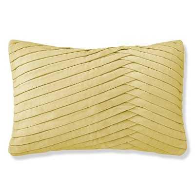 "Pleated Velvet Pillow Cover, 14"" X 22"", Light Yellow - Williams Sonoma"
