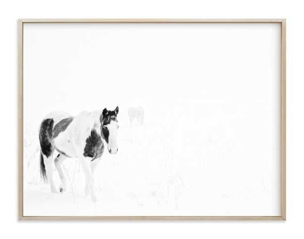 "Horses In The Fog- 40"" x 30"" - Matte Brass Frame - Minted"