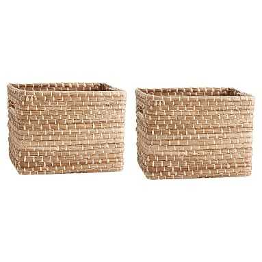 Naturalist Woven Storage Bins, Medium, Set Of 2, Natural Woven - Pottery Barn Teen