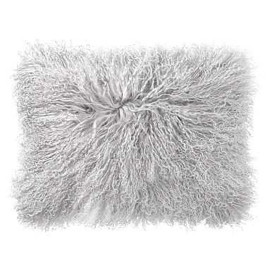 Mongolian Fur Pillow Covers 12 x 16, Light Gray - Pottery Barn Teen