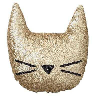The Emily & Meritt Sequin Cat Pillow, Gold - Pottery Barn Teen