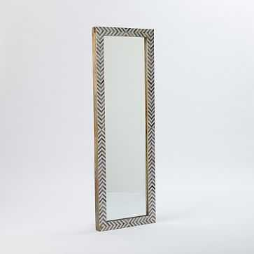 Parsons Floor Mirror, Bone Herringbone/Gray - West Elm