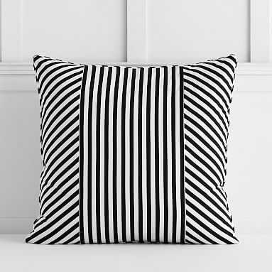 The Emily & Meritt Cabana Stripe Euro Pillowcase, Black/White - Pottery Barn Teen