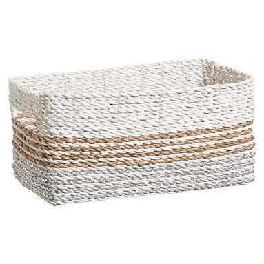 Shimmer Stripe Bin, Silver/Natural, Mini - Pottery Barn Teen