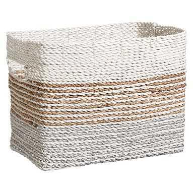 Shimmer Stripe Bin, Silver/Natural, Large - Pottery Barn Teen