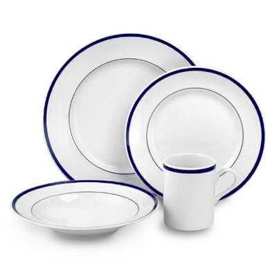 Brasserie Blue-Banded Porcelain 16-Piece Dinnerware Set - Williams Sonoma