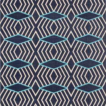 Diamond Stripe Wool Dhurrie Rug, Nightshade, 9'x12' - West Elm