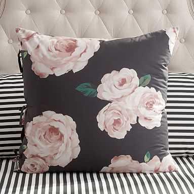 The Emily & Meritt Bed Of Roses Euro Sham, Black/Pink - Pottery Barn Teen