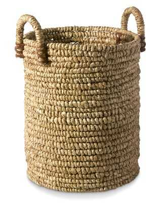 Woven Seagrass Basket with Leather, Large - Williams Sonoma
