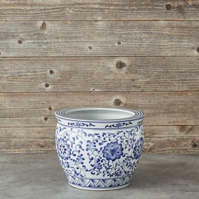 Blue & White Ceramic Planter, Extra Large - Williams Sonoma