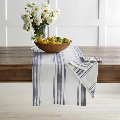 "French Stripe Table Runner, Navy Blue, 108"" X 16"" - Williams Sonoma"