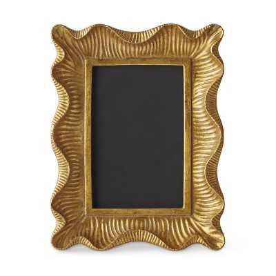 "AERIN Gold Scalloped Gallery Frame, 4"" X 6"" - Williams Sonoma"