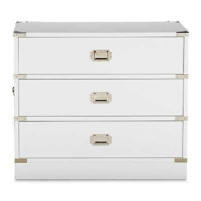 Campaign Side Table, White Lacquer, Polished Nickel - Williams Sonoma