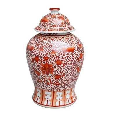 Twisted Lotus Temple Ginger Jar, Coral - Williams Sonoma