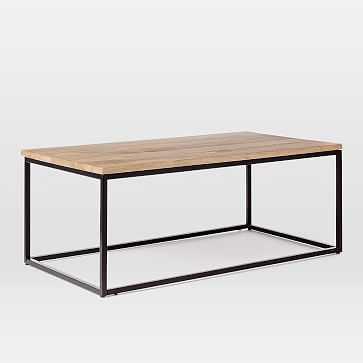 Box Frame Coffee Table, Raw Mango / Antique Bronze - West Elm